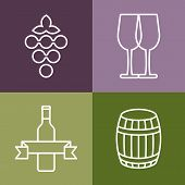 picture of wine grapes  - Set of line icons set - JPG