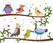 picture of tree leaves  - Variety of colorful birds sitting on a tree branch with leaves and tweeting - JPG