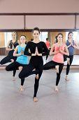 stock photo of namaste  - Sporty yogi girls in class in Yoga pose vrikshasana  - JPG