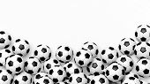picture of piles  - Pile of classic soccer balls isolated on white with copy - JPG