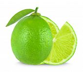 stock photo of lime  - lime and lime slice isolated on white - JPG