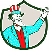 picture of uncle  - Illustration of Uncle Sam with hand up with stars and stripes American flag design on his hat and clothes set inside shield crest on isolated background done in retro style - JPG