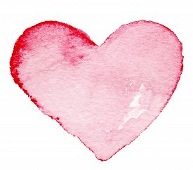 image of valentine card  - Watercolor painted red heart symbol for your design isolated over white background - JPG
