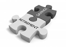 picture of retirement  - Connected puzzle pieces labeled with the words  - JPG
