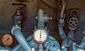 picture of barometer  - Vintage barometer and fire protection system in the truck - JPG