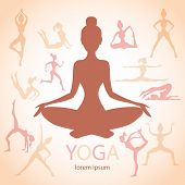 foto of surya  - three contours of women in the yoga poses on a beige background - JPG