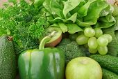 picture of assemblage  - Group of green vegetables and fruits on wooden background - JPG