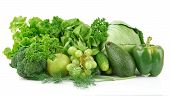 stock photo of assemblage  - Group of green vegetables and fruits on white background - JPG