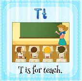 picture of letter t  - Flashcard letter T is for teach - JPG