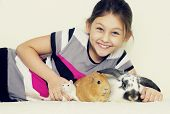 picture of rats  - child and a set of rodents guinea pig rabbit rat - JPG