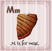 stock photo of letter m  - Flashcard letter M is for meat - JPG