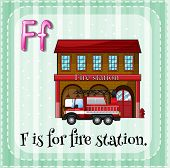 picture of fire-station  - Flashcard letter F is for fire station - JPG
