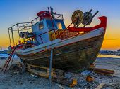 stock photo of old boat  - Old fishing boat - JPG