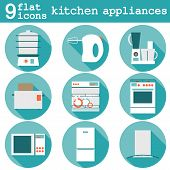 stock photo of kitchen appliance  - Big set  modern flat design icons of kitchen appliances with long shadow - JPG