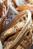 image of fresh slice bread  - Handmade fresh sliced bread in a wicker basket - JPG