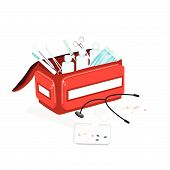 pic of emergency treatment  - Medical Concept Illustration of Open First Aid Box Filled with Medical Supplies for Emergencies Isolated on A White Background - JPG