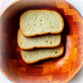 foto of fresh slice bread  - slices of fresh bread summer in the village - JPG