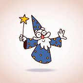 foto of wizard  - little floating wizard character mascot illustration - JPG
