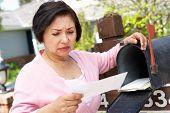 pic of mailbox  - Worried Senior Hispanic Woman Checking Mailbox - JPG