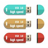 picture of flashing  - Three isolated usb flash drives with the text 3 - JPG
