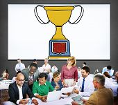 stock photo of prize  - Motivation Trophy Success Winning Reward Prize Concept - JPG