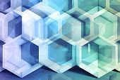 foto of honeycomb  - Abstract colorful 3d digital background with polygonal mesh and honeycomb structure - JPG