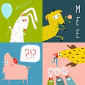 stock photo of baby pig  - Amusing vivid baby animals illustrations for kids - JPG