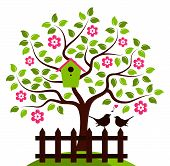 foto of bird-nest  - vector flowering tree with nesting bird box and picket fence with couple of birds isolated on white background - JPG