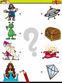picture of brain-teaser  - Cartoon Illustration of Education Element Matching Game for Preschool Children with Fantasy Characters - JPG