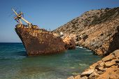 picture of shipwreck  - Scenic image of shipwreck Amorgos Cyclades Greece - JPG