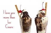 stock photo of ice cream sundaes  - I Love You More Than Ice Cream Concept with decadent ice cream sundaes on white wood background and sample text - JPG