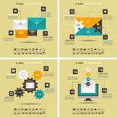 Постер, плакат: E mail infographics Marketing e mail Four abstract pattern with 