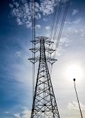 pic of utility pole  - wire of electricity high voltage pole and sky - JPG