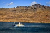 picture of fjord  - Fishing ship in Seydisfjordur fjord in Eastern Iceland - JPG
