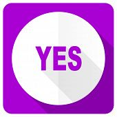 stock photo of yes  - yes pink flat icon  - JPG