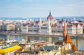 picture of hungarian  - View of Hungarian Parliament and part of the city from Buda Hill - JPG