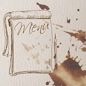 stock photo of freehand drawing  - notebook to write the menu in an abstract style freehand drawing - JPG