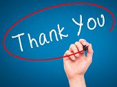 picture of thankful  - Man Hand writing Thank You with marker on transparent wipe board - JPG