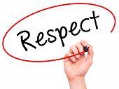 image of respect  - Man Hand writing Respect black marker on visual screen - JPG