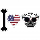 picture of rebel flag  - I Love Pugs With American Symbols including flag - JPG