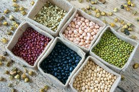 stock photo of soybeans  - Collection of grain green bean red bean soybean black bean in bag cereal product is healthy food nutrition eating and fibre food - JPG
