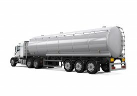 image of tank truck  - Fuel Tanker Truck isolated on white background - JPG