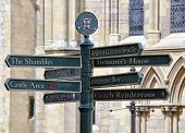 Tourist information signpost outside of York Minster poster