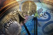 stock photo of barometer  - Euro coins and banknotes overlaid with Barometer dial - JPG