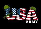 Постер, плакат: United States Army Military Equipment Of America Logo For American Army Amrik Flag Automatic And