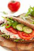 stock photo of tomato sandwich  - Sandwich with ham - JPG