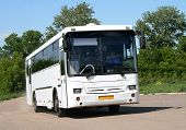 stock photo of motor coach  - A white coach over green bushes and blue sky - JPG