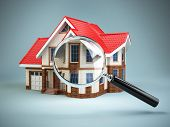 House and loupe magnifying glass. Real estate searching concept. House search and house hunting. 3d poster