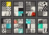 Set of Vintage Creative Cards - Hand drawn hipster collages and textures made with ink and watercolo poster