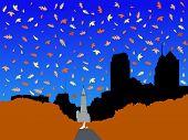 Постер, плакат: Сити Холл и Бенджамин Франклин Паркуэй Филадельфии осенью JPG